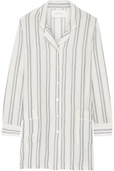 Solid And Striped The Britt Basketweave Cotton Shirt White