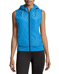 Neiman Marcus Active Quilted Hoodie Vest Electric Blue