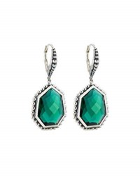 Stephen Dweck Freeform Faceted Green Quartz Drop Earrings