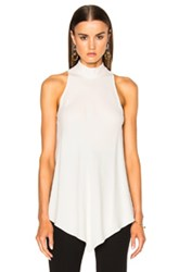 Proenza Schouler Satin Back Crepe Turtleneck Swing Top In White