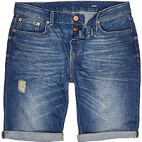 River Island Mens Mid Wash Denim Distressed Slim Shorts