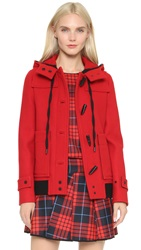 Victoria Beckham Cropped Duffle Coat Red