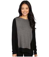 Karen Kane Color Block Sweater Knit Top Black Dark Heather Gray Women's Sweater