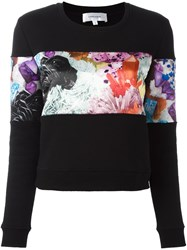 Carven Floral Panel Sweater Black