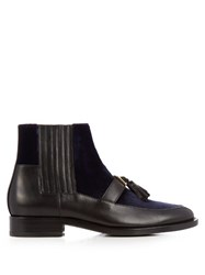 Balmain Theodorade Leather And Velvet Chelsea Boots Black Navy