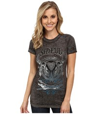 Affliction Painted Desert Short Sleeve Baby Tee Grey Black Burnout Women's T Shirt Gray
