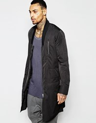 Asos Bomber Jacket In Extreme Longline With Drop Collar In Black Black