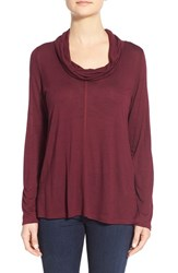 Women's Olivia Moon Cowl Neck A Line Top Wine