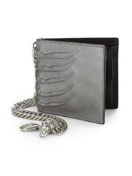 Alexander Mcqueen Embossed Leather Chain Wallet Pewter