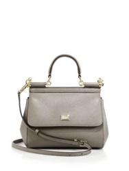 Dolce And Gabbana Sicily Small Textured Leather Top Handle Satchel Medium Beige