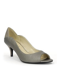 Ellen Tracy Sidney Leather Pumps Pewter