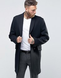 Hart Hollywood By Nick Db Smart Overcoat With Shawl Collar Black Navy