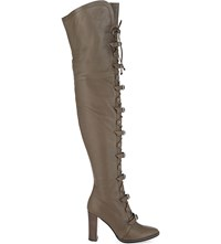 Jimmy Choo Maloy 95 Leather Over The Knee Boots Taupe Grey