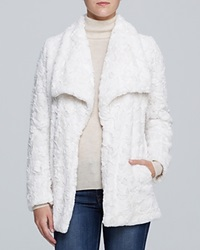 Karen Kane Textured Faux Fur Jacket Cream