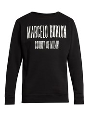Marcelo Burlon El Misti Crew Neck Sweatshirt Black White