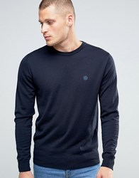 Pretty Green Jumper With Crew Neck In Slim Fit Navy Navy