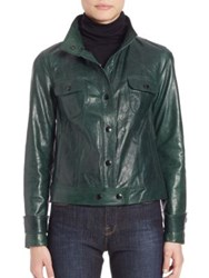 Frame Cropped Leather Jacket Spruce