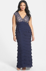 Adrianna Papell Lace Bodice Shutter Pleat Gown Plus Size Navy