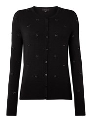 Therapy Bow Embroidered Cardigan Black