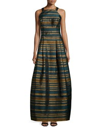 Kay Unger New York Sleeveless Metallic Striped Gown Teal Blue