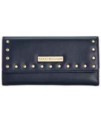 Tommy Hilfiger Studded Pebble Leather Large Flap Wallet Tommy Navy