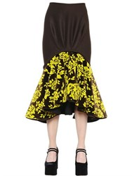 Mary Katrantzou Ruffled Floral Devore And Wool Skirt