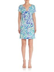 Lilly Pulitzer Duval Linen Shift Dress Pool Blue Multi