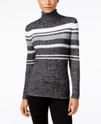 Styleandco. Style Co. Petite Striped Turtleneck Sweater Only At Macy's Deep Black Combo