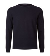 Pal Zileri Ribbed Round Neck Jumper Male Navy