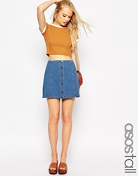 Asos Tall Denim Look A Line Mini Skirt With Button And Pocket Detail Denimblue