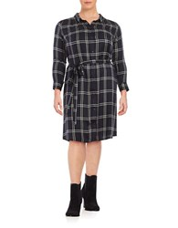 Lucky Brand Plus Plaid Belted Midi Shirtdress Black Multi