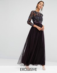 Needle And Thread Tulle Floral Gown Aubergine Purple