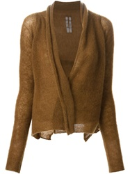 Rick Owens Open Front Cardigan Brown