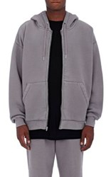 Alexander Wang T By Men's Fleece Oversized Zip Front Hoodie Grey