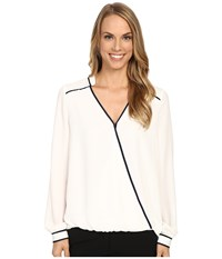 Adrianna Papell Asymmetric Wrap Front Top With Contrast Binding Ivory Women's Blouse White