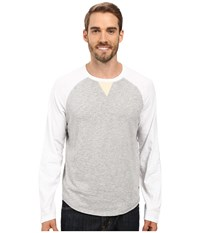 True Grit Vintage Raglan Long Sleeve Tee With Stitch And Trim Detail Optic White Heather Grey Men's T Shirt Gray