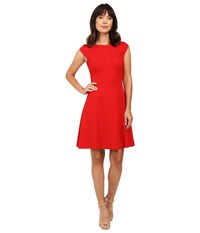 Tahari By Arthur S. Levine Sleeveless A Line In Spongey Crepe Crimson Women's Dress Red