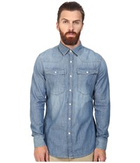 G Star 3301 Long Sleeve Shirt In Lightweight Boll Denim Light Aged Men's Long Sleeve Button Up Blue