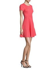 Rebecca Taylor Pique Fit And Flare Dress Bright Coral