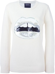 Markus Lupfer Sequinned Lips Sweater White