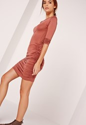 Missguided Long Sleeve Ruched Bodycon Dress Brown Brown