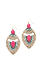 Adia Kibur Heather Earrings Gold Neon Pink