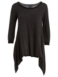 Max Studio Scoop Neck Asymmetric Hem Jumper Black