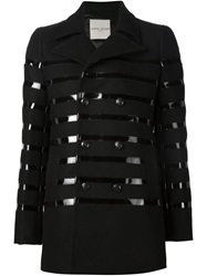 Each X Other Vinyl Striped Peacoat Black