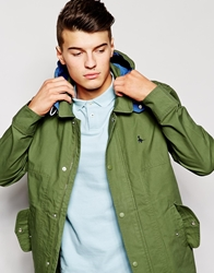 Jack Wills Jacket In Wax Cotton Green