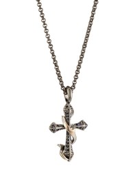 Stephen Webster Men's Thorn Cross Pendant Necklace W Black Sapphire Pave