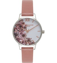 Olivia Burton Ob15fs73 Flower Show Silver And Leather Watch Pink