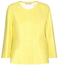Marni Leather Jacket Yellow