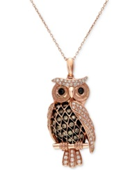 Effy Collection Confetti By Effy White And Brown Diamond Owl Pendant Necklace 1 2 Ct. T.W. In 14K Rose Gold