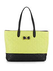 Betsey Johnson Be My Bow Colorblock Tote Citron